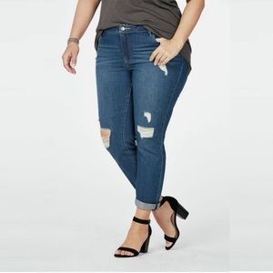 JustFab Distressed Crop Stretch Skinny Jeans 20W